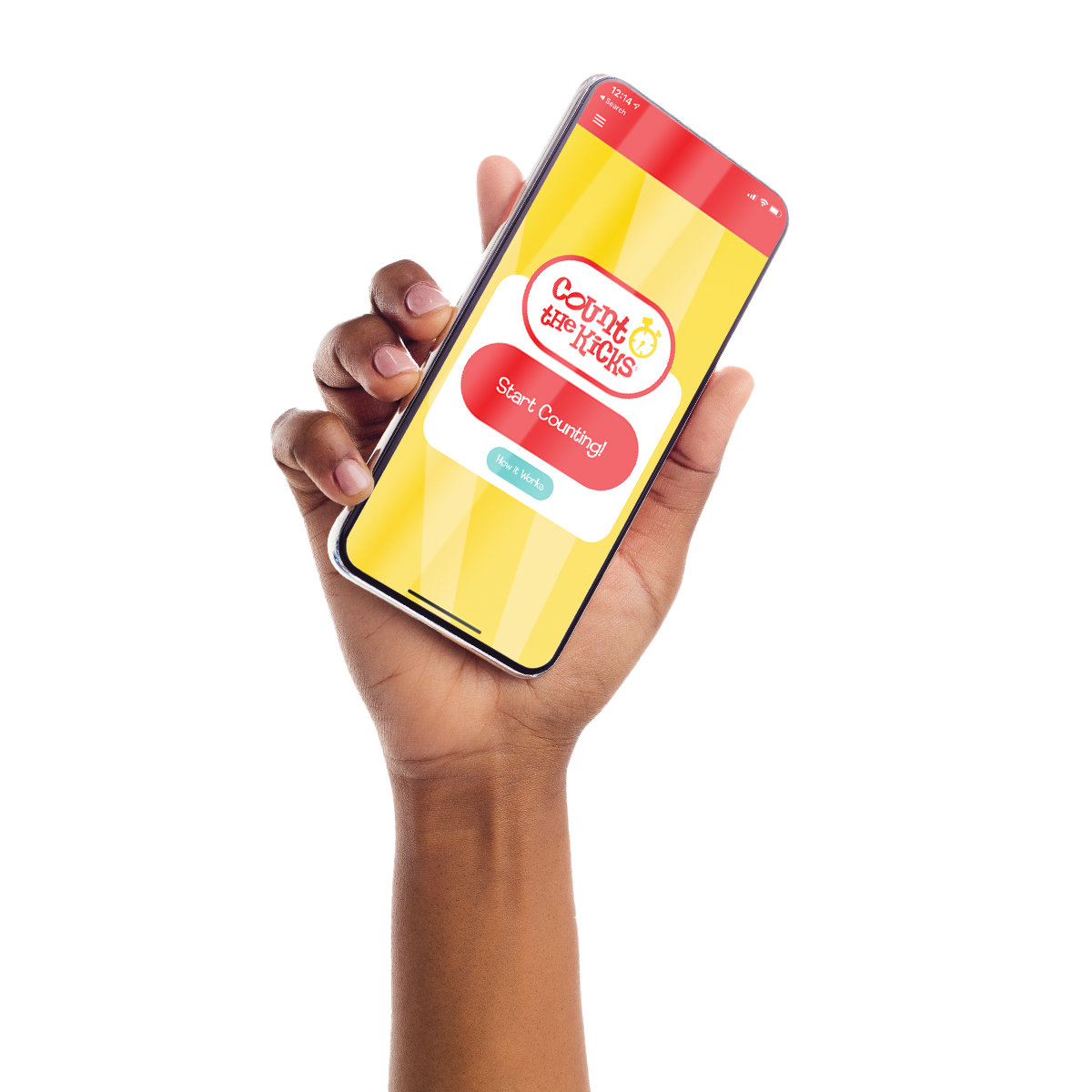 A woman's hand holds a smartphone with the Count the Kicks app on screen.