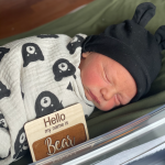 Baby Bear wears a bear hat and is wrapped in a bear swaddle.